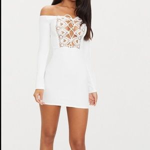 NWT PrettyLittleThing Lace Up Bardot Bodycon Dress